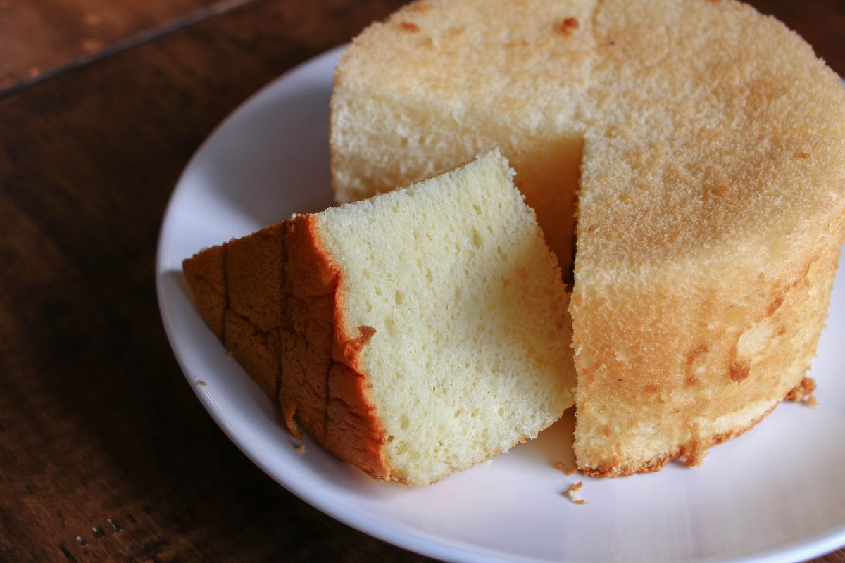 A Delicious Fluffy Orange Chiffon Cake on the white Plate